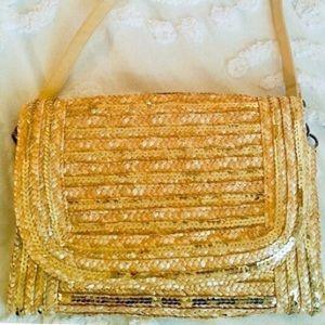 Handbags - Beautiful Gold Sequin Envelope Straw Bag